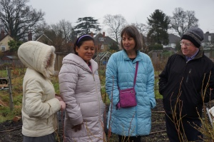 Our visitors with Jim at the allotment