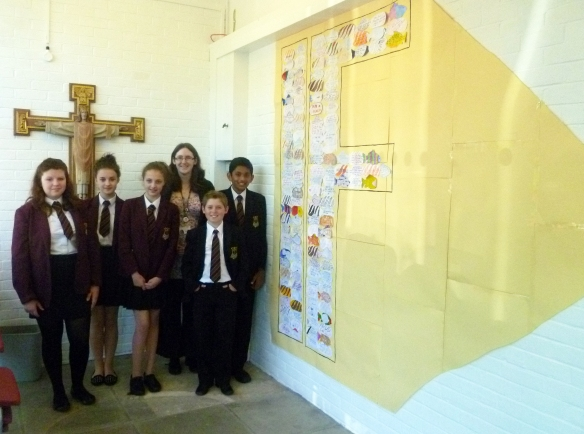 St Philip Howard Year 8 Representatives with Chaplain Clare Long adding their big IF to the campaign