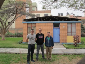 (L to R) Eamonn, Martin and Louie outside their accomodation in Columban Central House