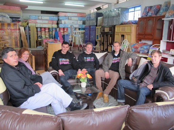 Our team and some of the EDUCA staff in one of Christian's furniture shop. Christian had made the settee which was great.