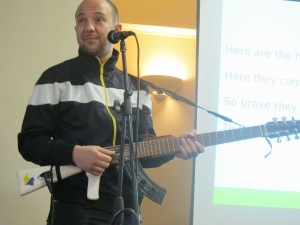 César's AK-47 guitar was very interesting and stimulated much conversation during the visit