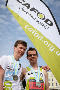 Peter and Ciaran at the Brighton Marathon