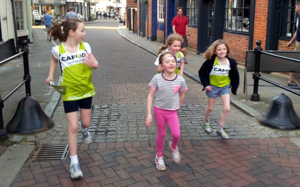 The girls from Godalming on the final sprint of the 3 mile run (also joined by Charlotte' slittle sister)