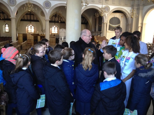 Eric Pickles MP met the young CAFOD supporters at Brentwood Cathedral