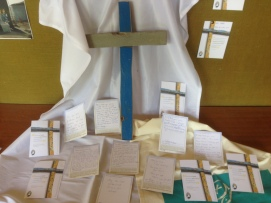 Children and staff in St Joseph's had the chance to reflect on a Lampedusa Cross