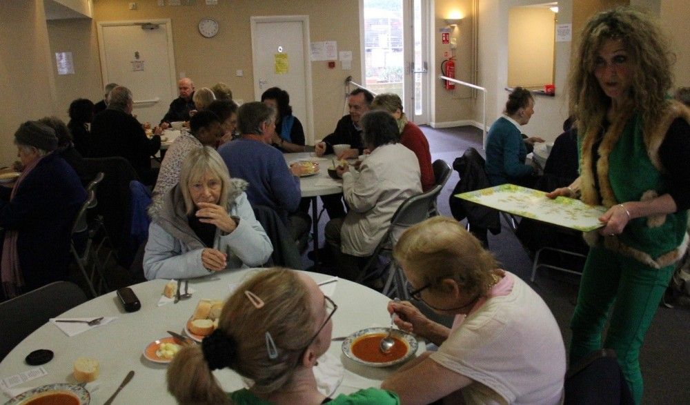 Parishioners of Sacred Heart Parish, Hove, enjoying their soup lunch