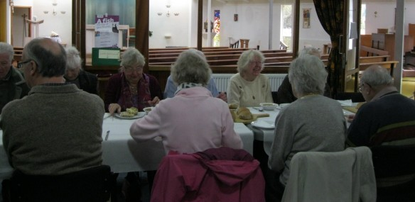 Parishioners of St Edwards and St Luke's supporting Lent Fast Day with a frugal lunch.