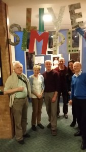 St Clements Parish Ewell livesimply group with their banner made from recycled materials