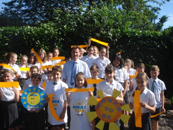 Jeremy Hunt with Year 6 pupils at St Edmund's Primary