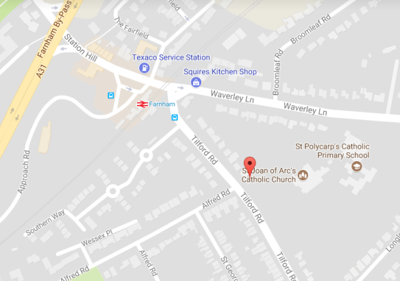 Map of showing St Joan of Arc church