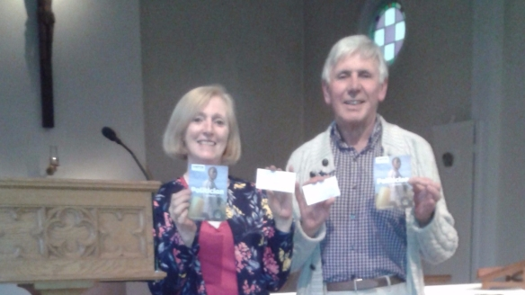 Two of the Ash team encouraging their fellow parishioners to live simply, sustainably and in solidarity with the poor