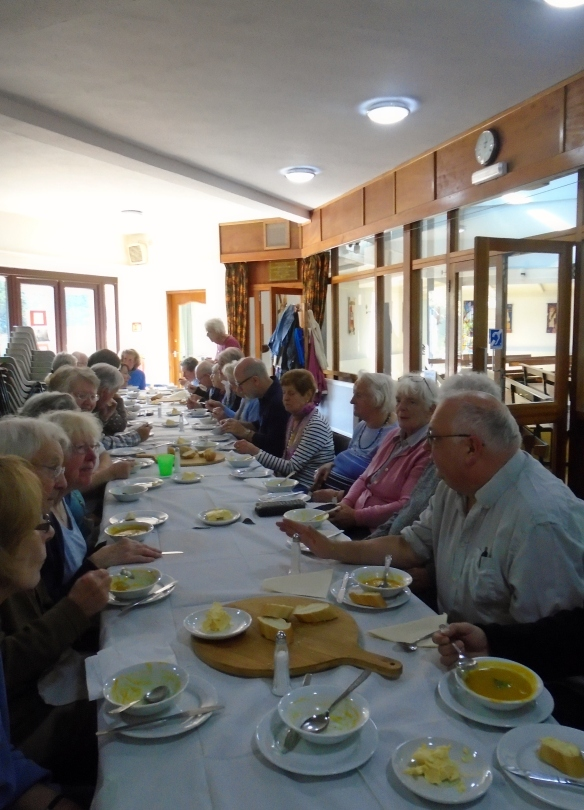 A good crowd gathered for some tasty soup at St Edward's, Keymer