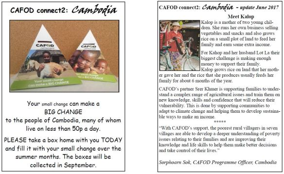 Camberley and Bagshot poster for CAFOD Pyramid Boxes for Connect2: Cambodia.
