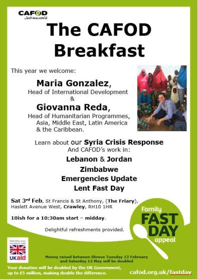 CAFOD Breakfast Crawley Poster Lent 2018