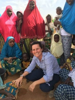 Maria Gonzalez CAFOD and Sudanese villagers