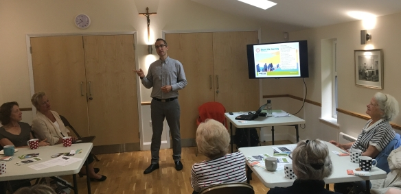 Martin speaking with the gathering in Fetcham