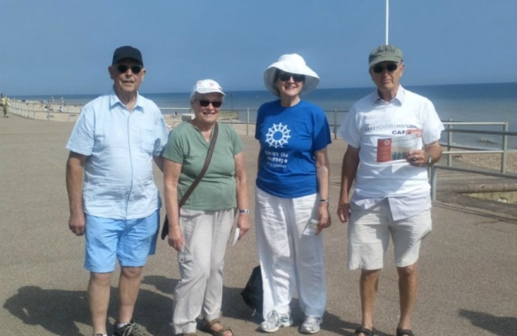 A few of the Bexhill-on-Sea walkers, bathed in glorious sunshine